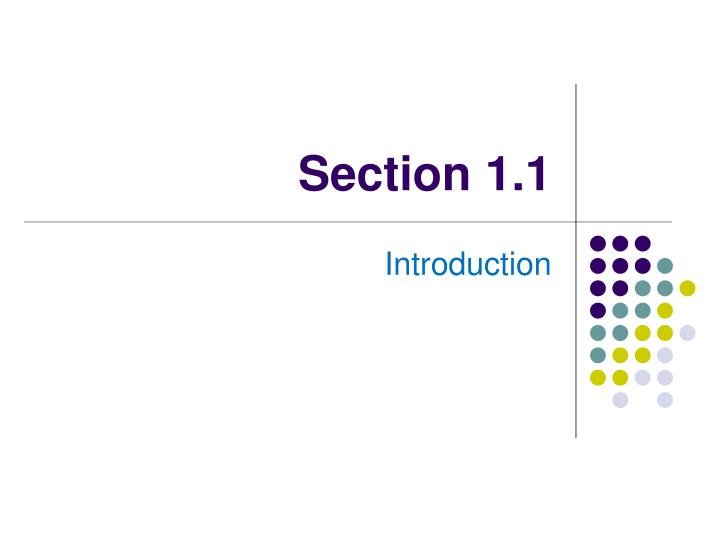 Section 1 1