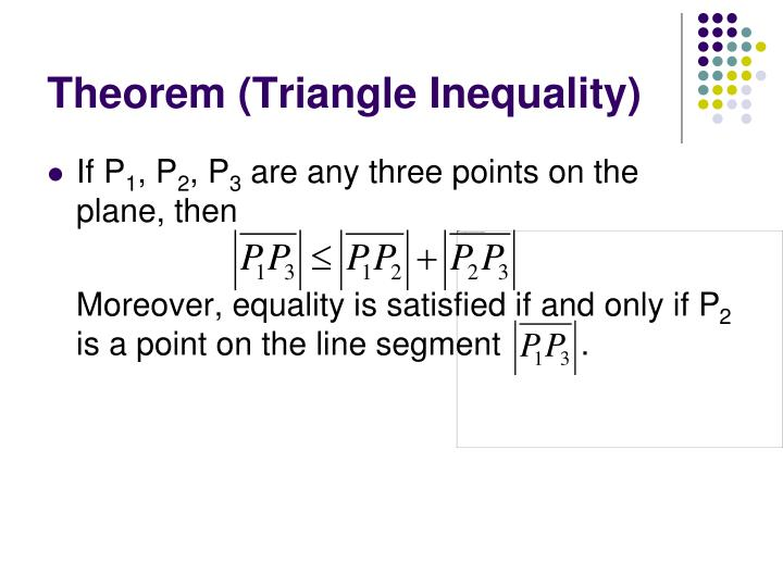Theorem (Triangle Inequality)