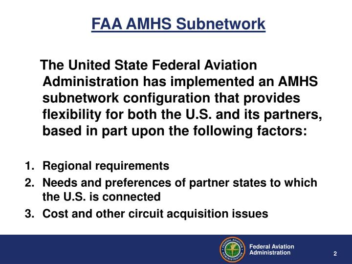 FAA AMHS Subnetwork