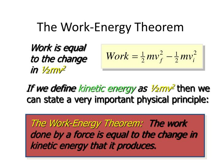 The Work-Energy Theorem: