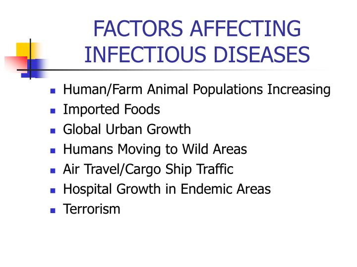 FACTORS AFFECTING INFECTIOUS DISEASES