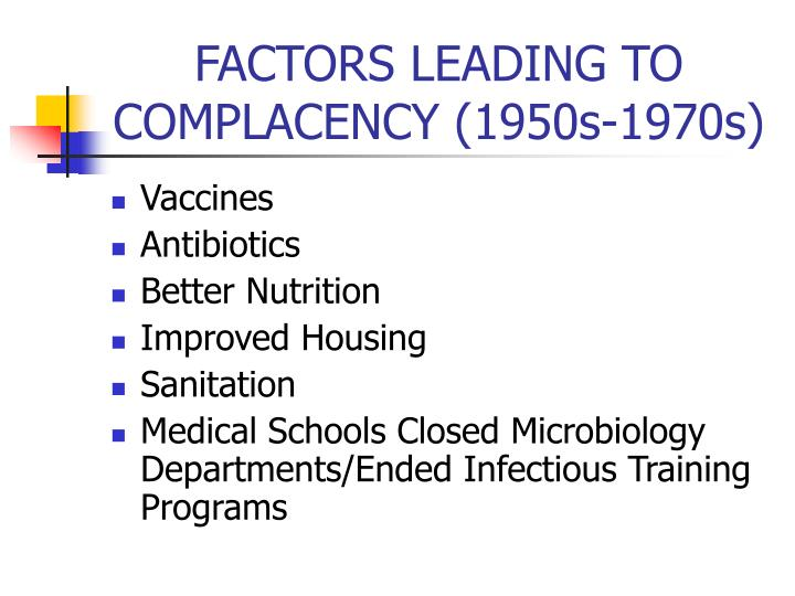 FACTORS LEADING TO COMPLACENCY (1950s-1970s)