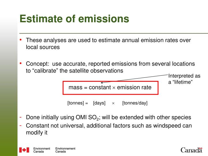 Estimate of emissions