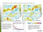 omi data show a 40 decline in mean so 2 values over eastern us