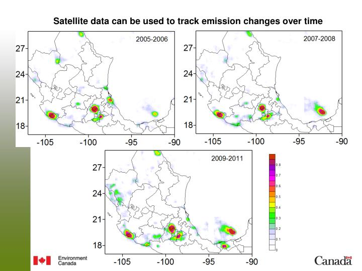Satellite data can be used to track emission changes over time
