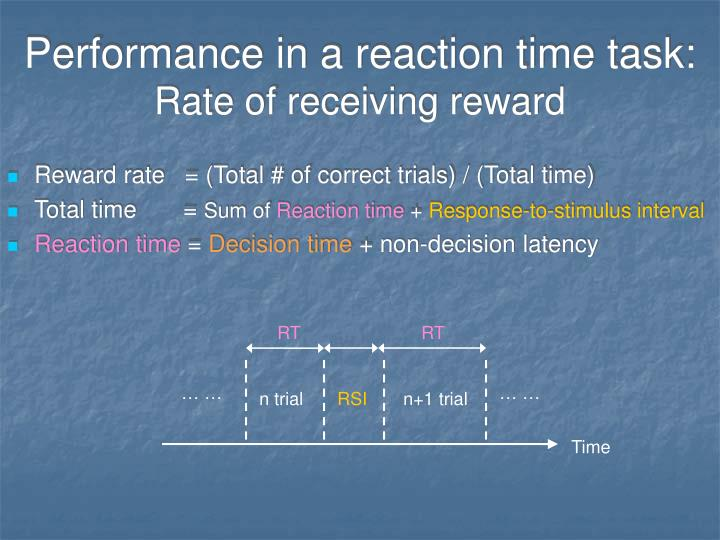 Performance in a reaction time task: