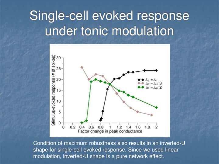 Single-cell evoked response under tonic modulation