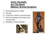 artist donatello art the david medium bronze sculpture