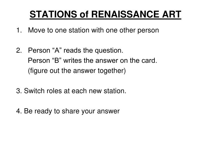 STATIONS of RENAISSANCE ART