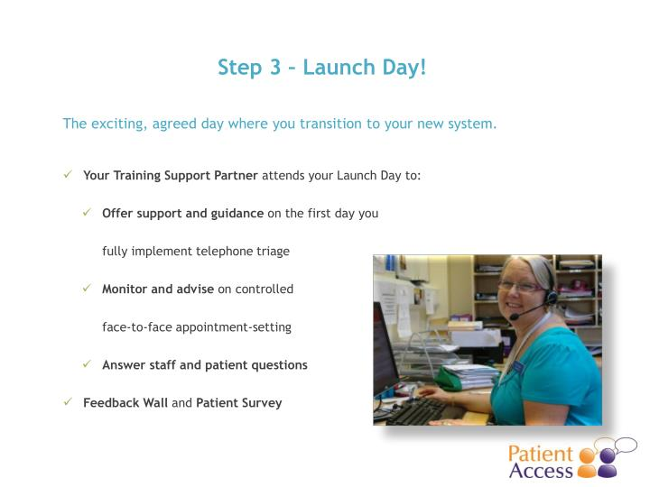 Step 3 – Launch Day!