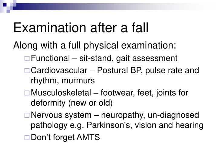 Examination after a fall