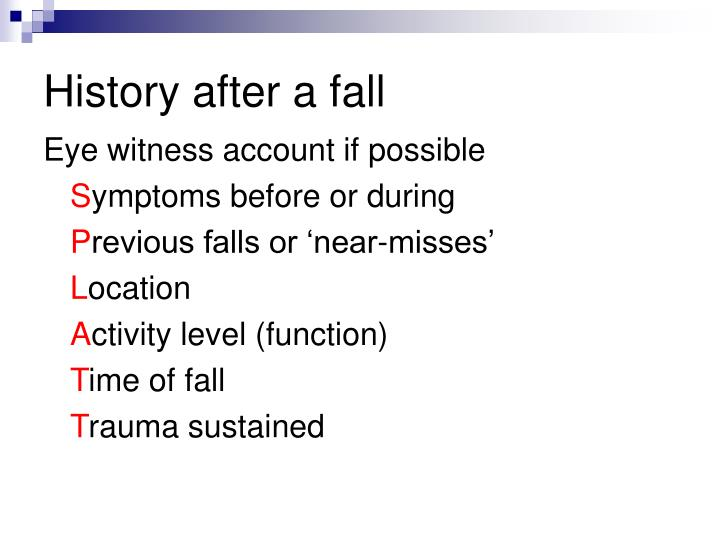 History after a fall