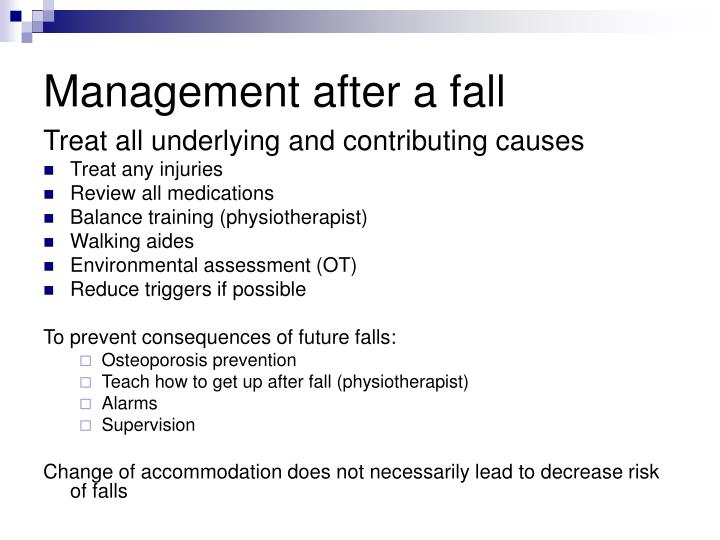 Management after a fall
