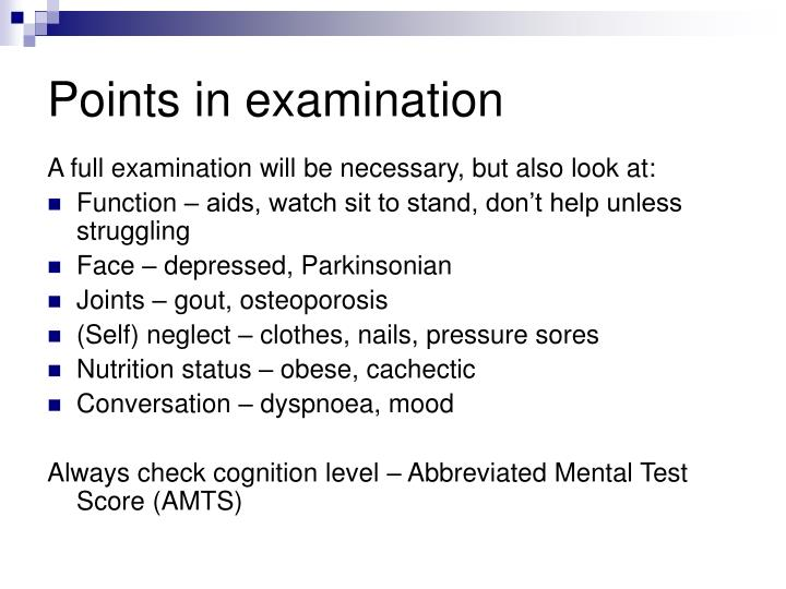 Points in examination
