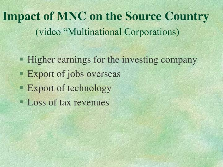 Impact of MNC on the Source Country