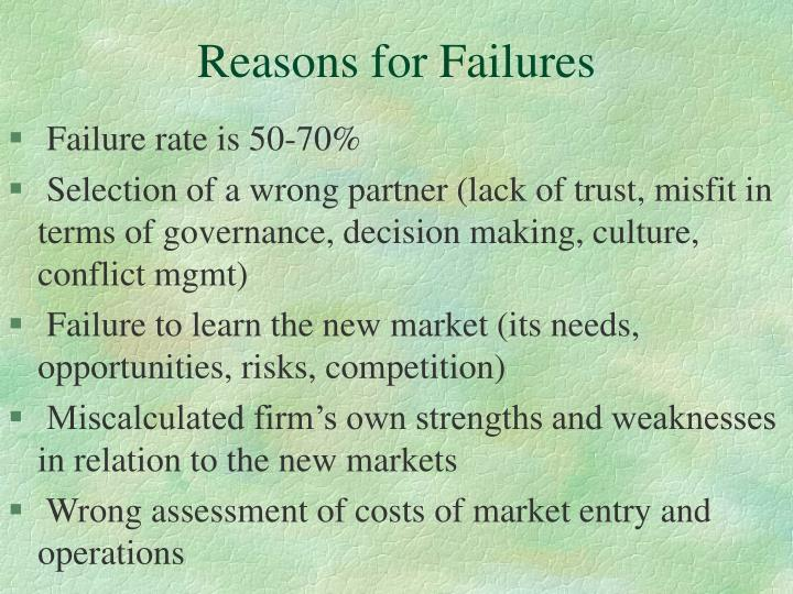 Reasons for Failures