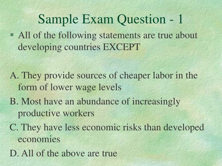 Sample exam question 1