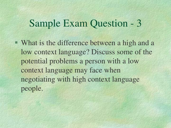 Sample Exam Question - 3