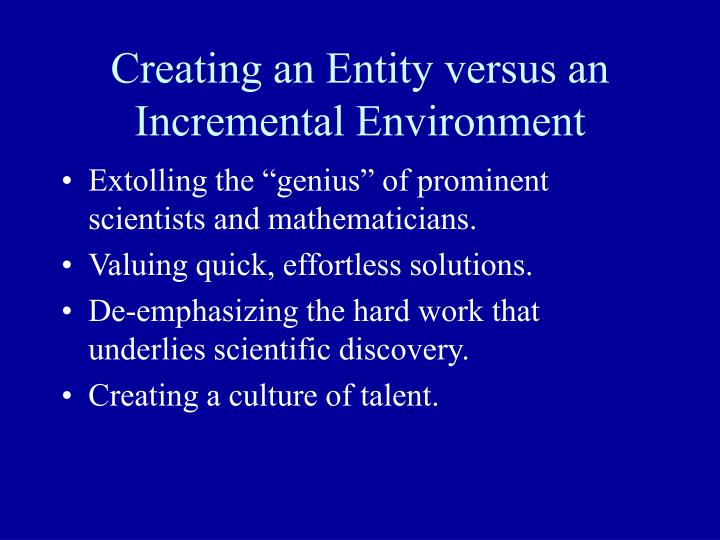 Creating an Entity versus an Incremental Environment