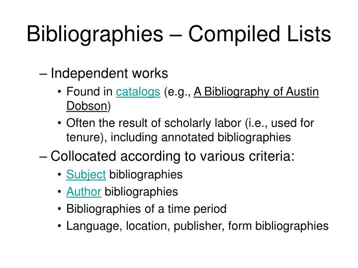 Bibliographies – Compiled Lists