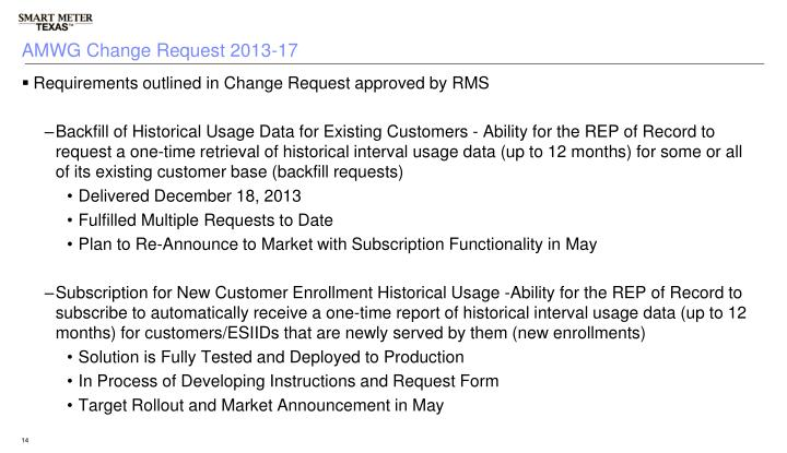 AMWG Change Request 2013-17