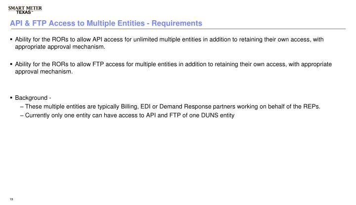API & FTP Access to Multiple Entities - Requirements