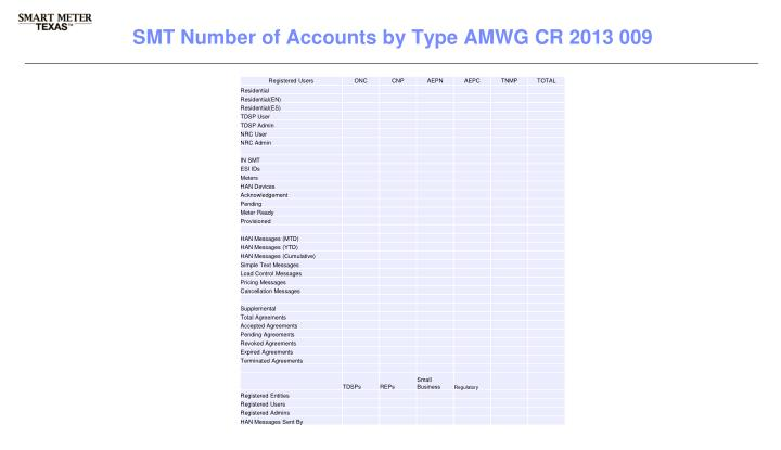 SMT Number of Accounts by Type AMWG CR 2013 009