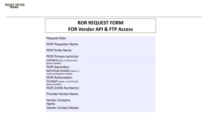 ROR REQUEST FORM