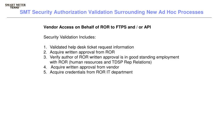 Vendor Access on Behalf of ROR to FTPS and / or API
