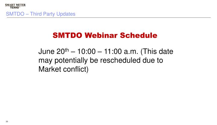 SMTDO – Third Party Updates