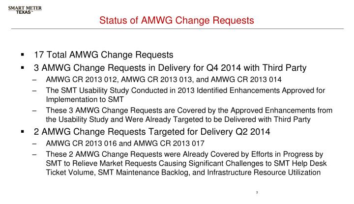Status of amwg change requests