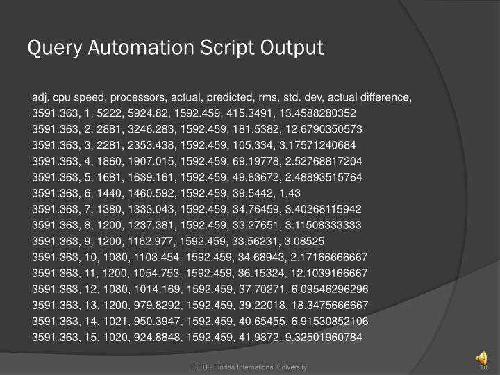 Query Automation Script Output