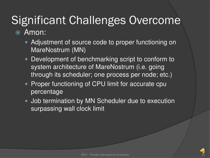 Significant Challenges Overcome