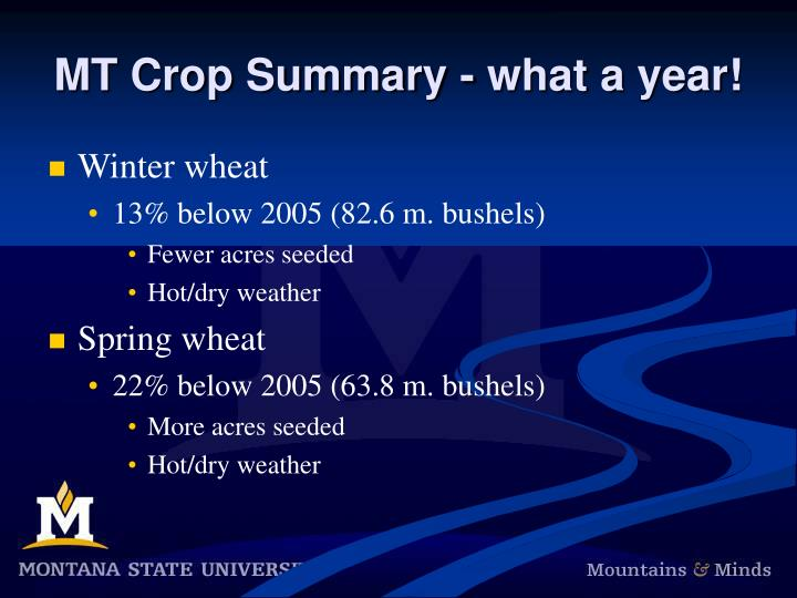 MT Crop Summary - what a year!