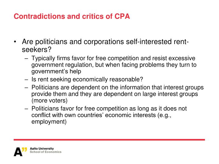 Contradictions and critics of CPA