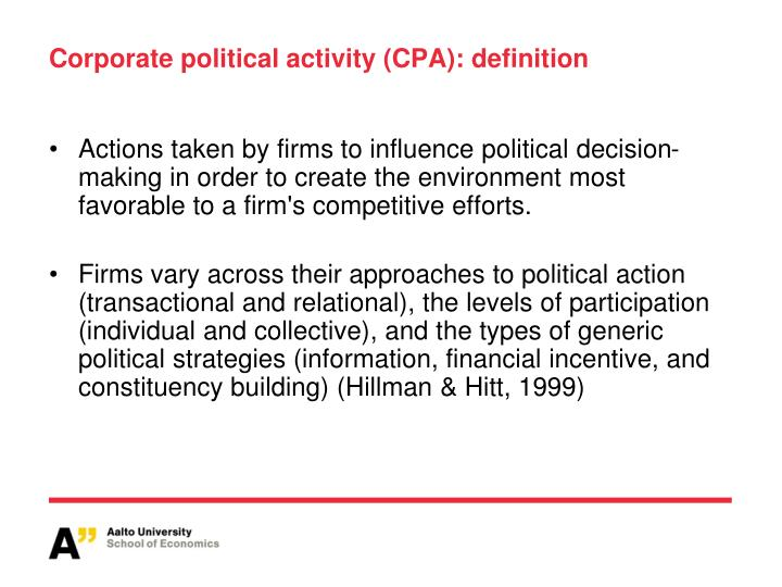 Corporate political activity (CPA): definition