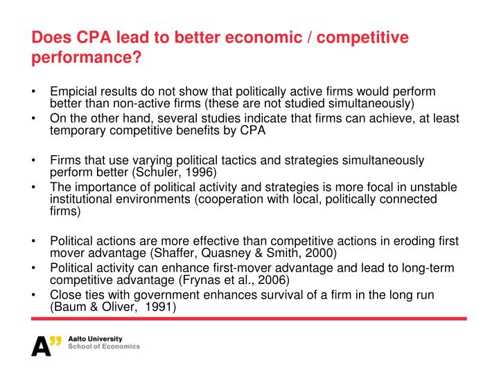 Does CPA lead to better economic / competitive performance?