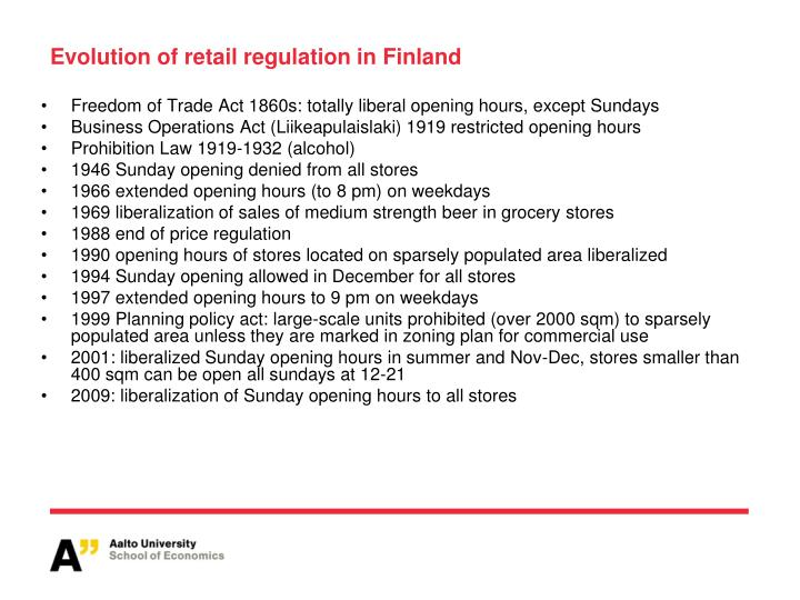 Evolution of retail regulation in Finland