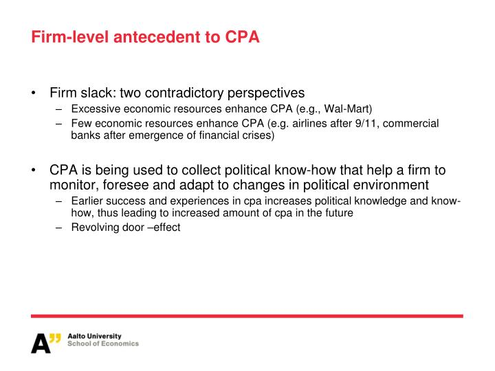 Firm-level antecedent to CPA