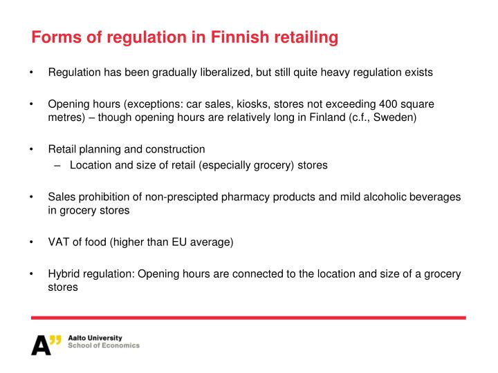 Forms of regulation in Finnish retailing