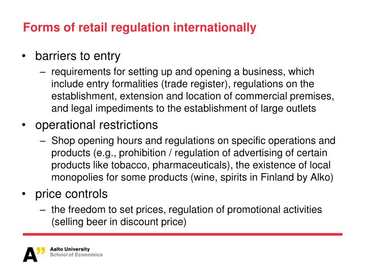 Forms of retail regulation internationally