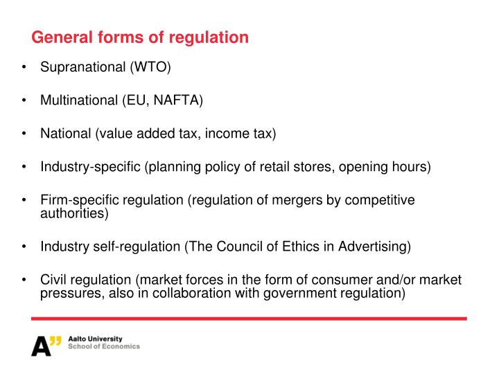 General forms of regulation
