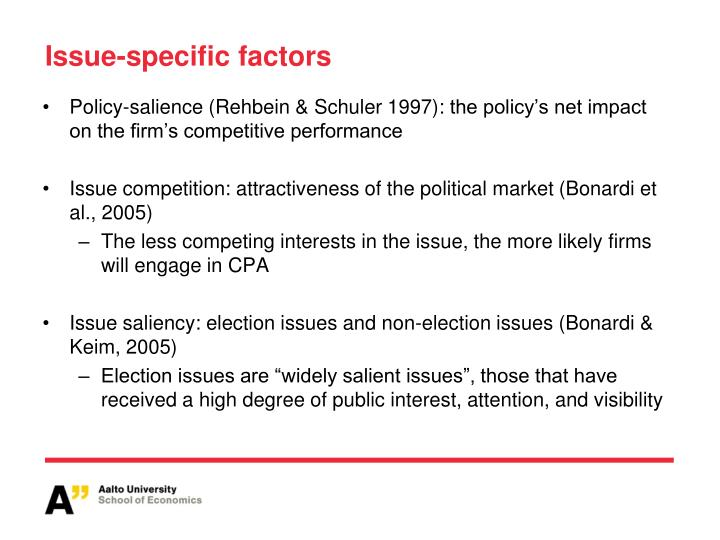 Issue-specific factors