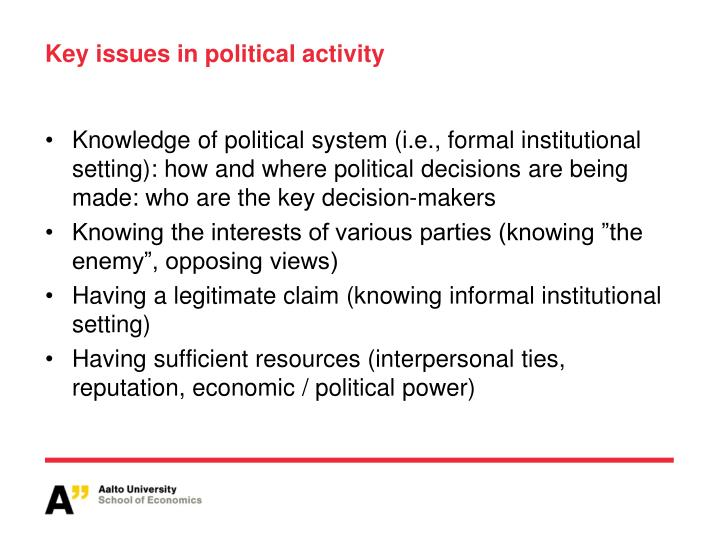 Key issues in political activity