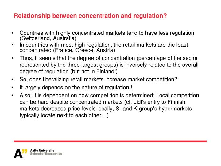 Relationship between concentration and regulation?