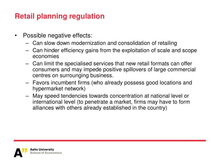 Retail planning regulation