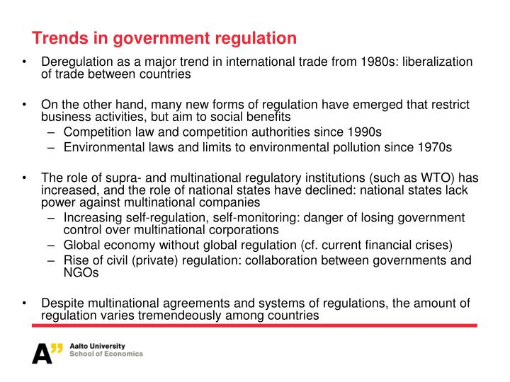 Trends in government regulation