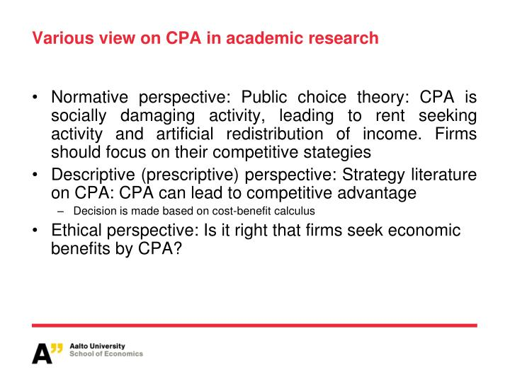 Various view on CPA in academic research