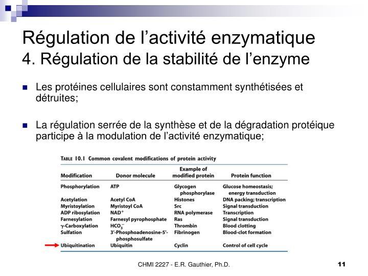 Régulation de l'activité enzymatique