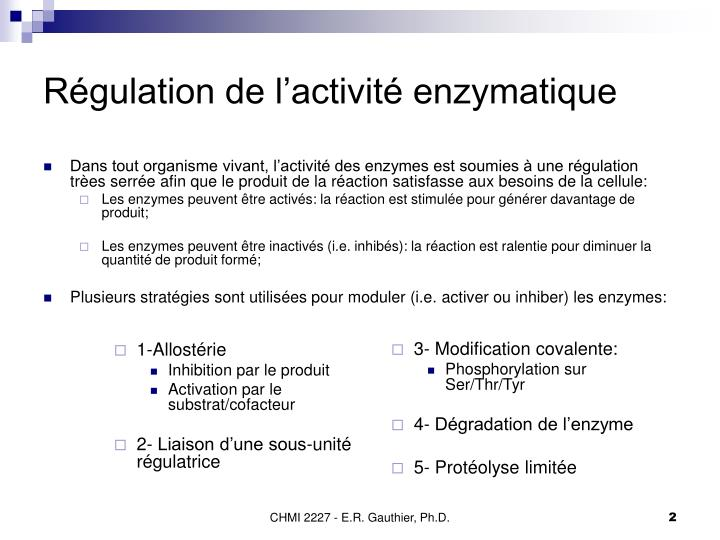 R gulation de l activit enzymatique